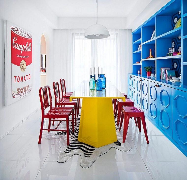mezcla de colores vivos comedor azul rojo amarillo ideas