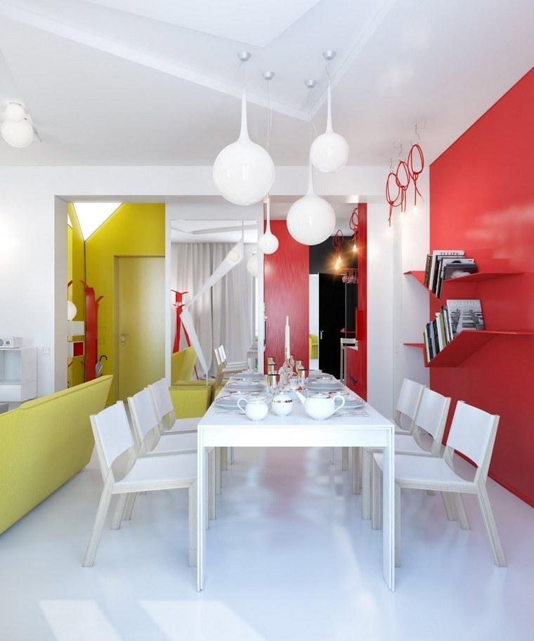 mezcla de colores vivos comedor rojo amarillo blanco ideas