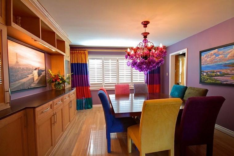 Mezcla de colores vibrantes 60 ideas de comedores vivos for Cortinas comedor 2016