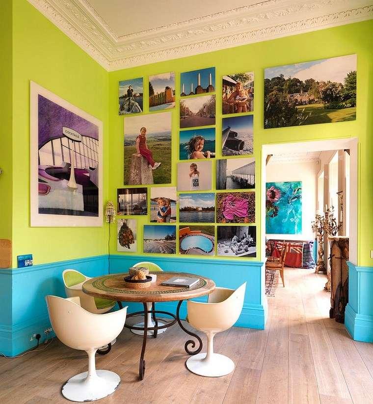 mezcla de colores vivos comedor verde turquesa ideas
