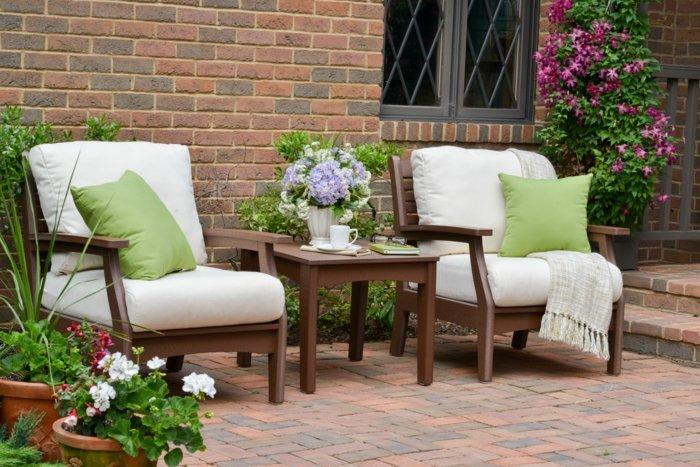 mobiliario terrazas paneles exteriores naturales ladrillos
