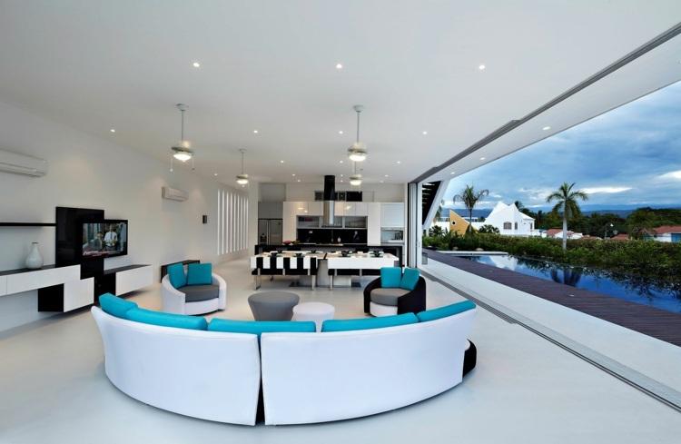 modernos espacios salas muebles circulares
