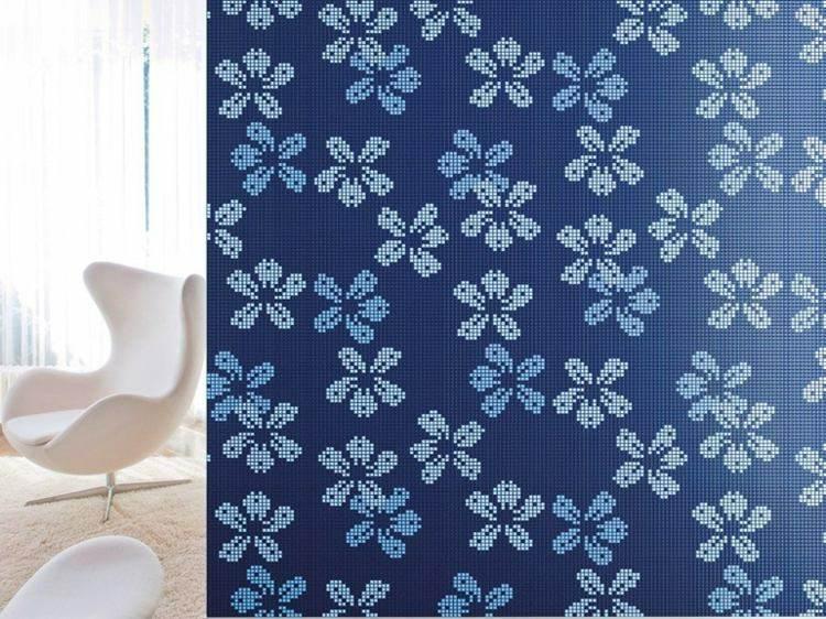 mosaico flores color azul