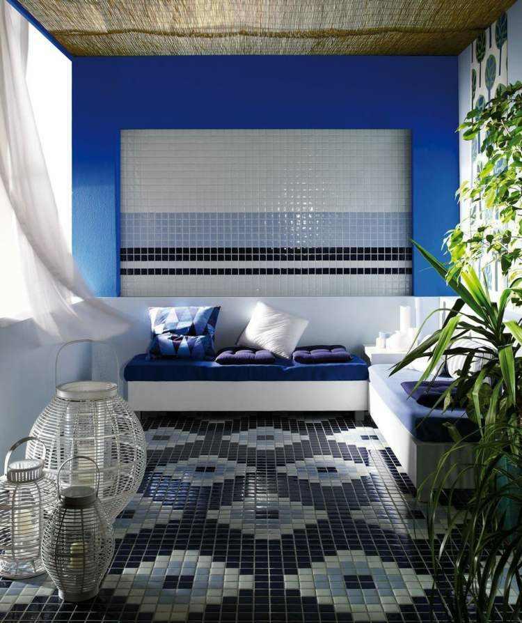 mosaico moderno tonos azules