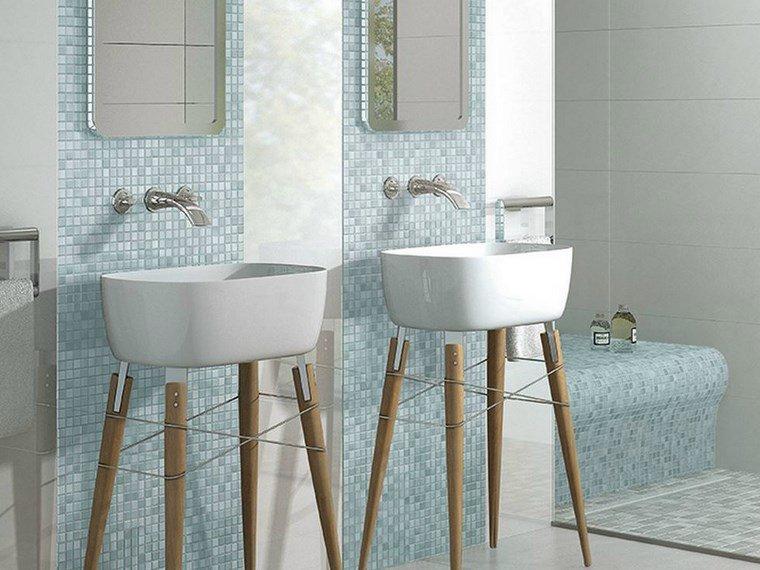 mosaicos bano moderno color azul ideas