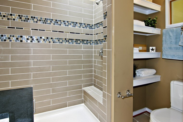 mosaicos bano moderno diseno azulejos beige ideas