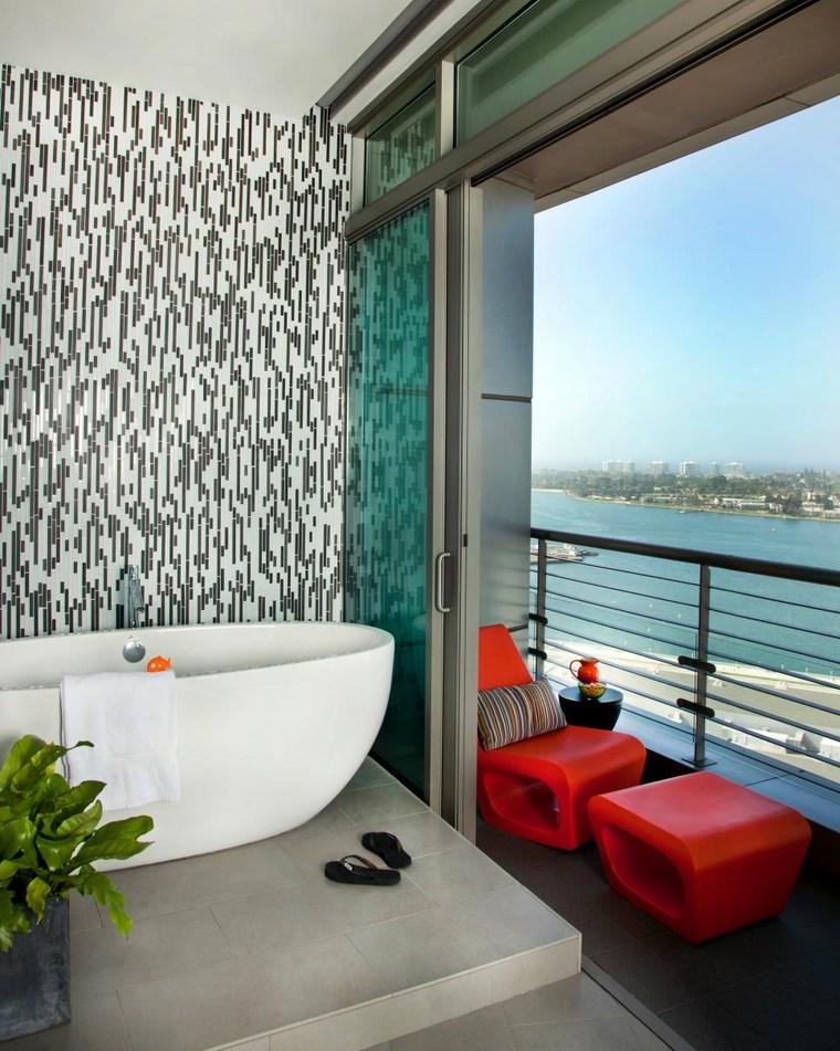 mosaicos bano moderno diseno balcon pequeno ideas
