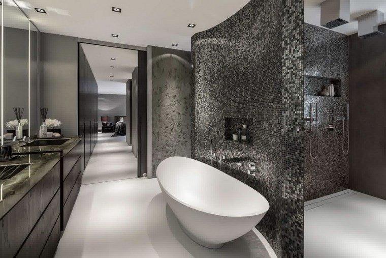 mosaicos bano moderno diseno color negro banera ovalada ideas