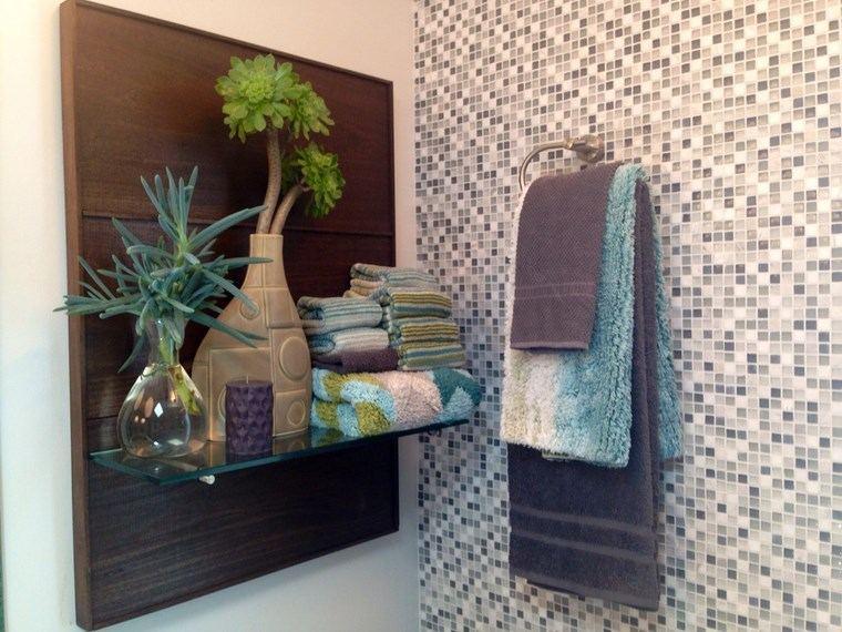 mosaicos bano moderno diseno estante cristal ideas