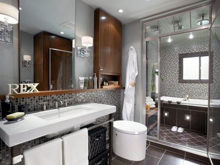 Baño Gris Con Madera:Mosaicos 115 diseños de baños atractivos y coloridos -