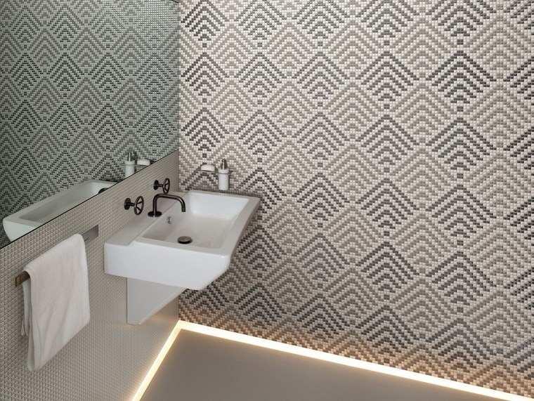 mosaicos bano moderno diseno iluminacion LED suelo ideas