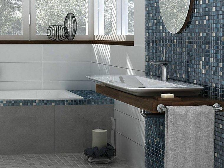 mosaicos bano moderno diseno lavabo espejo cristal ideas