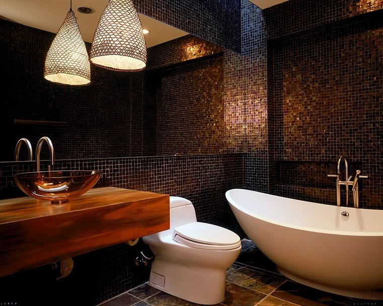 mosaicos bano moderno diseno lavabo lujoso ideas
