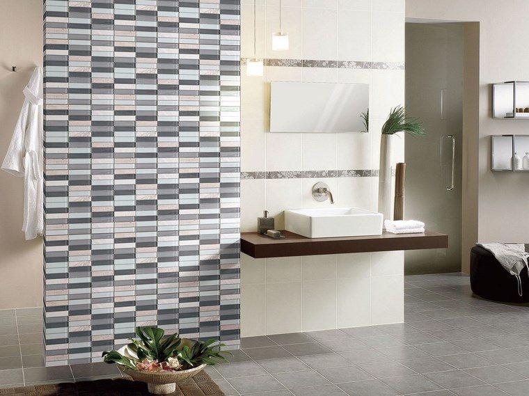 mosaicos bano moderno diseno pared decorada ideas