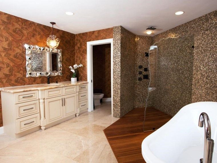 mosaicos bano moderno diseno suelo madera ideas