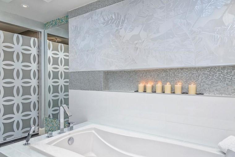 mosaicos bano moderno diseno velas ideas