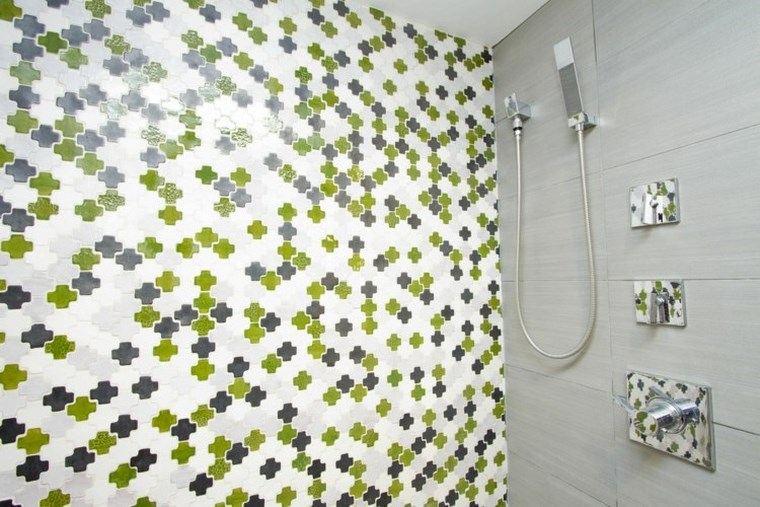 mosaicos bano moderno diseno verde gris blanco ideas