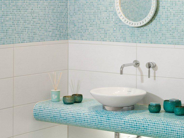 mosaicos lavabo bano moderno diseno azul ideas