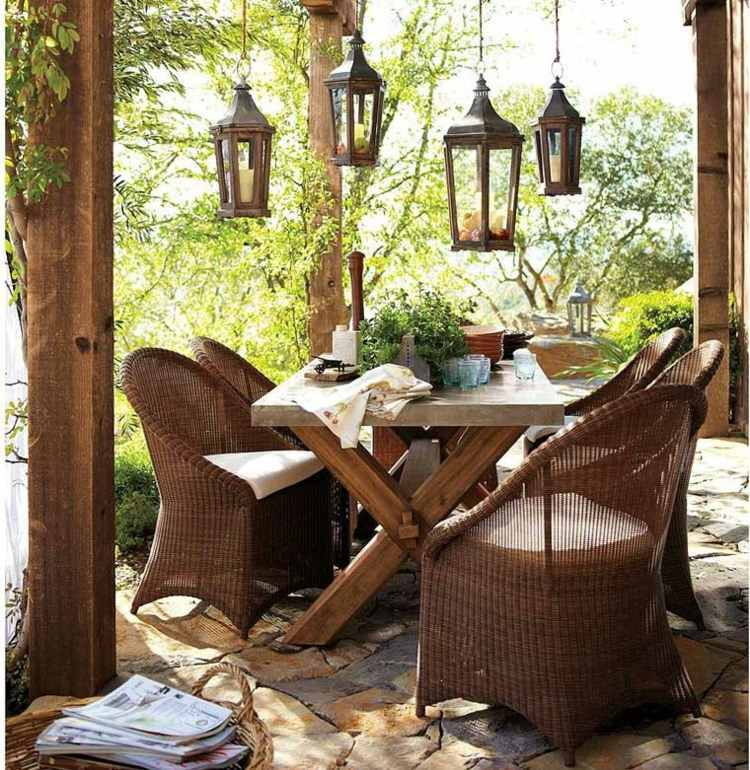 decorar jardines rusticos muebles mimbre