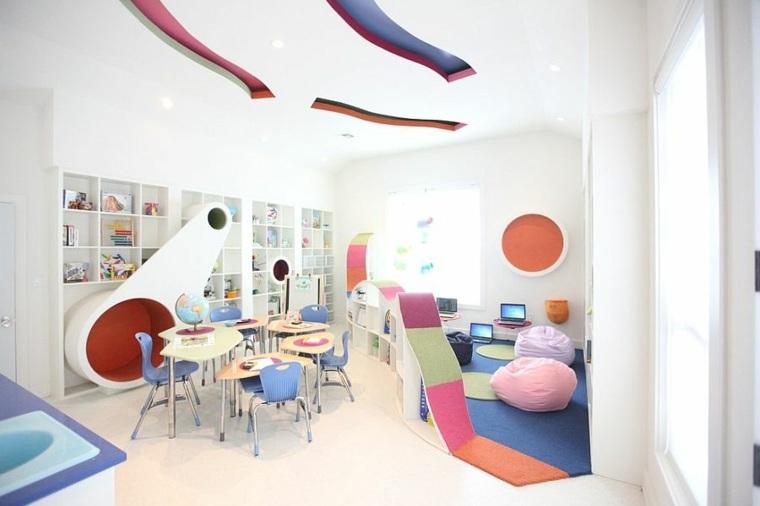 mueble estantes integrados pared blancos