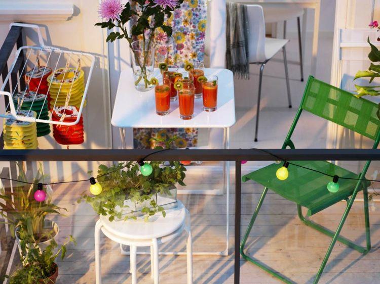 muebles a medida balcon mesita taburete blanco silla verde ideas