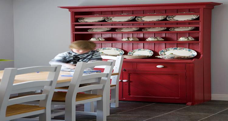 muebles aparador comedor color rojo