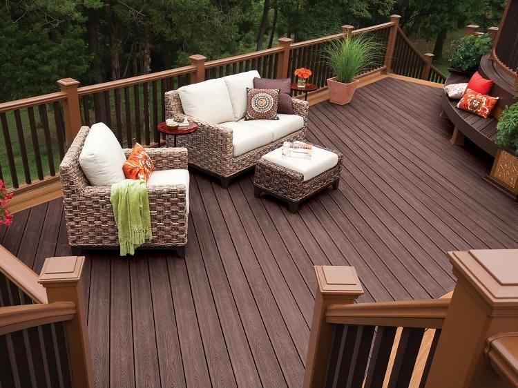 muebles balcon amplio suelo madera ideas