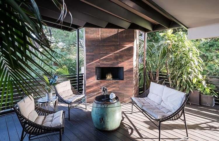 muebles balcon chimenea diseno contemporaneo ideas