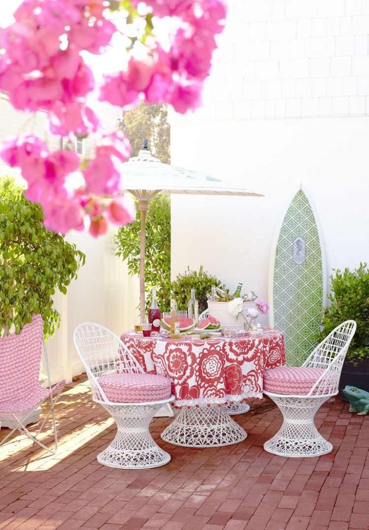muebles balcon diseno femenino rosa ideas