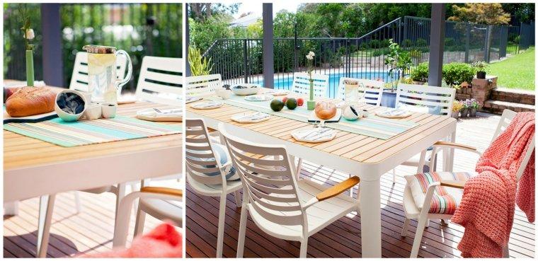muebles blancos jardin piscina verano ideas