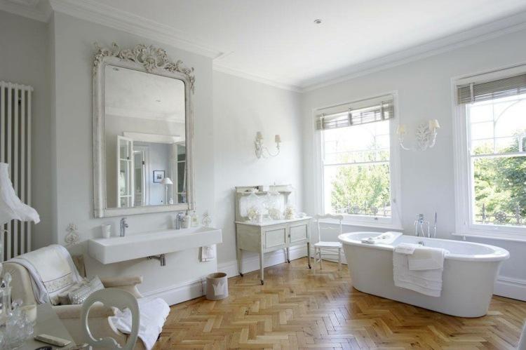 muebles blancos suelo madera