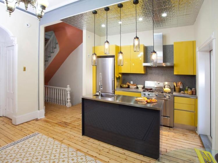 muebles cocinas pequeñas modernas amarilla