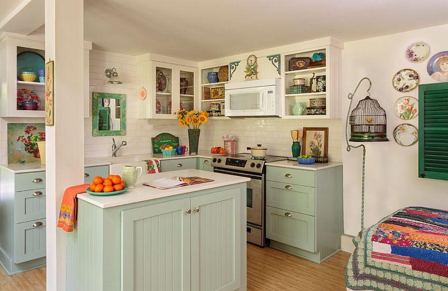 Diseño de cocinas con conjunto de muebles color verde jade