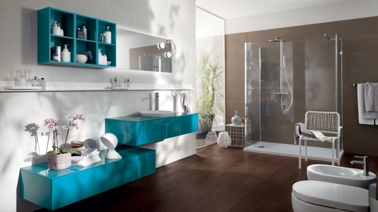 muebles coloridos bano moderno ideas