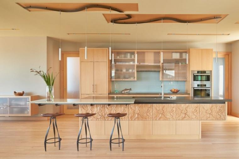 muebles de diseño acabados madera isla cocina ideas