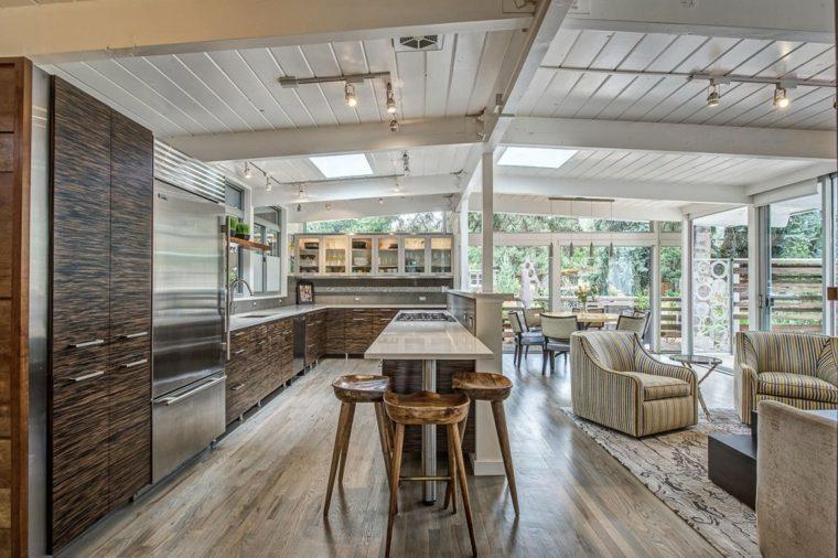 muebles de diseño cocina taburetes isla madera ideas