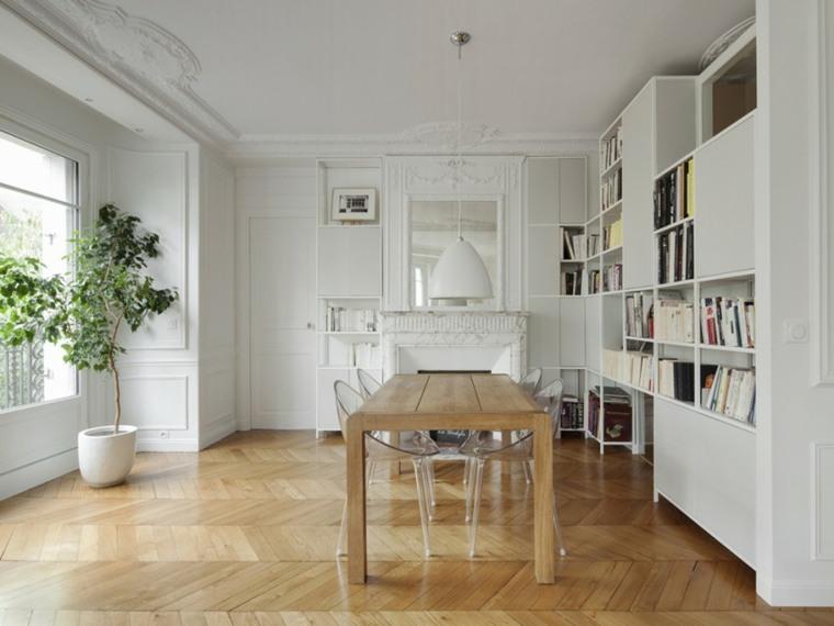 muebles de diseño comedor sillas plastico mesa madera ideas