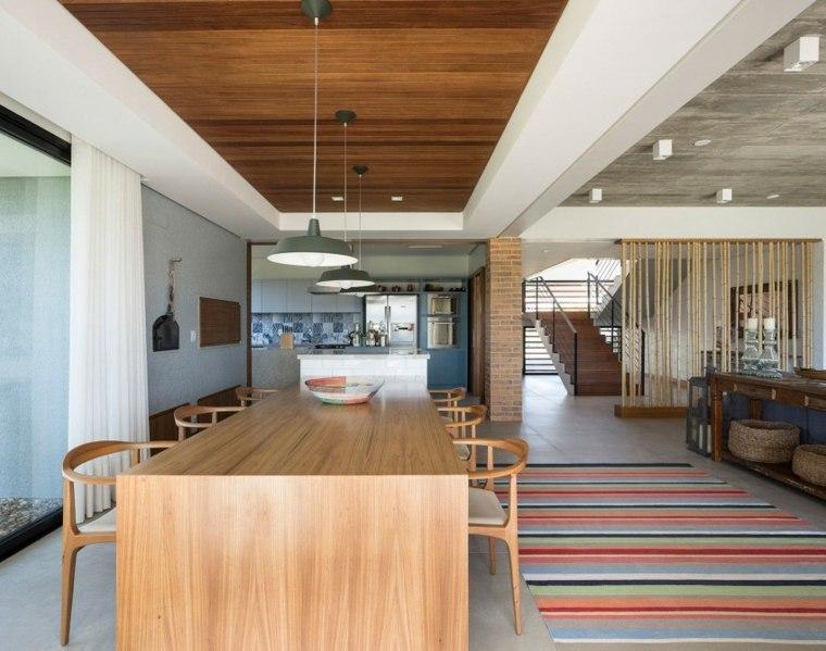 muebles de diseño mesa sillas madera alfombra vintage ideas