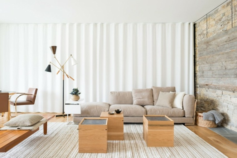 muebles de diseño mesitas madera salon moderno ideas