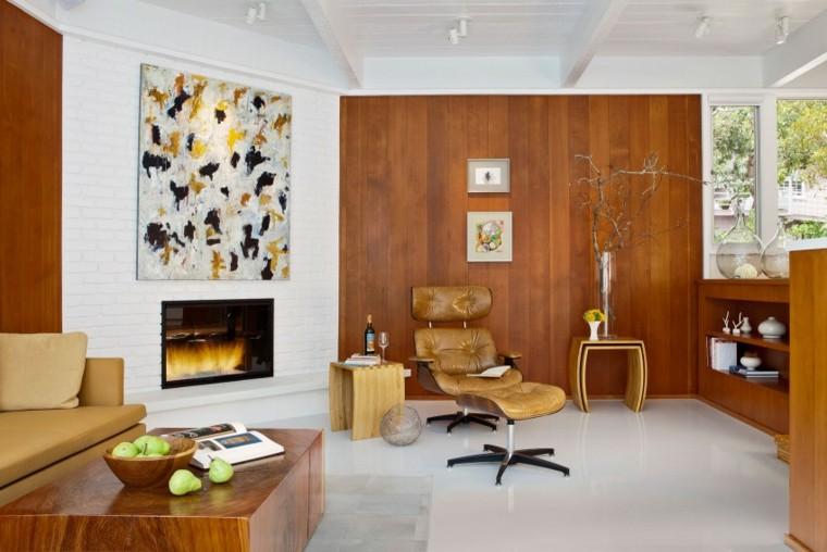 muebles de diseno sillon cuero madera chimenea ideas