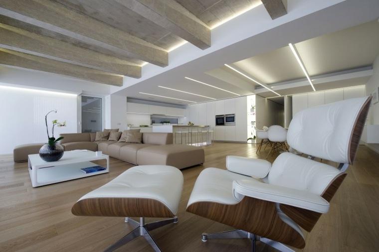 muebles de diseno sillon madera cuero blanco ideas