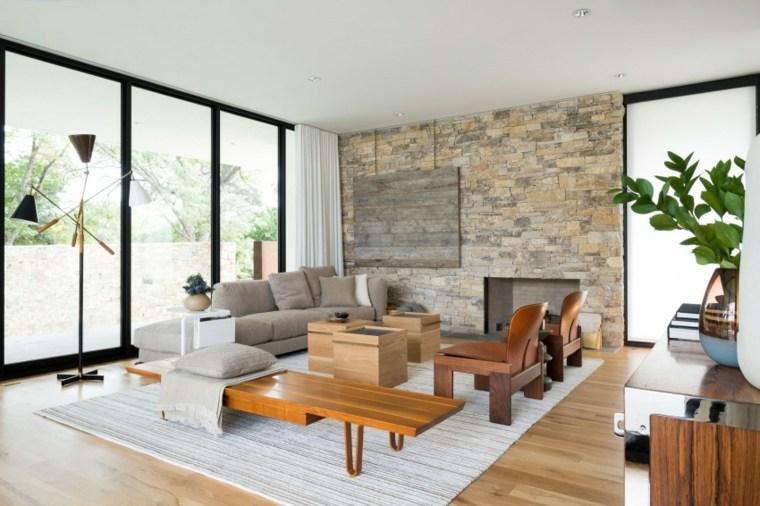 muebles de diseno sillones mesa banco distinta madera ideas