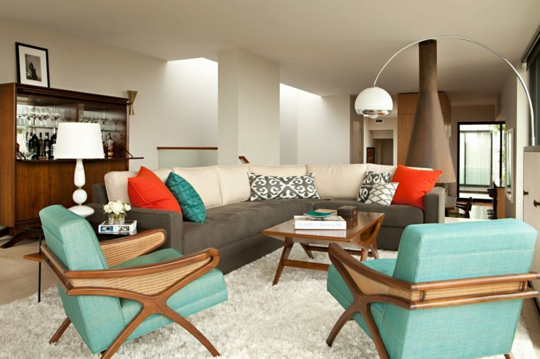 muebles de diseno sillones verdes mueble madera cristales ideas