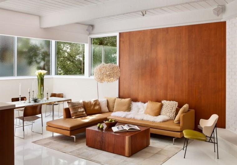 muebles de diseño sofa cuero mesa madera ideas