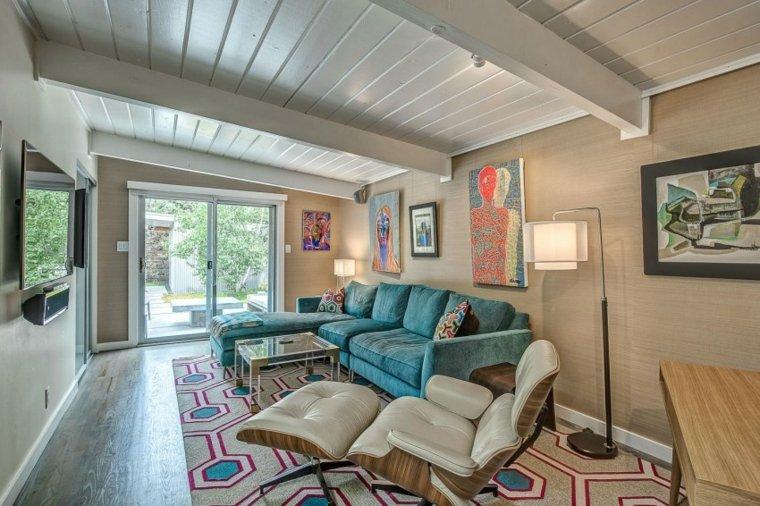 muebles de diseño sofa terciopelo azul ideas