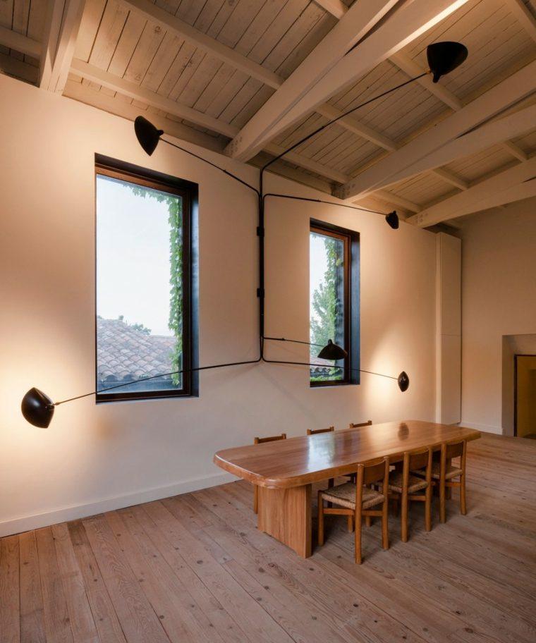 muebles diseno casa paredes blancas comedor muebles madera ideas