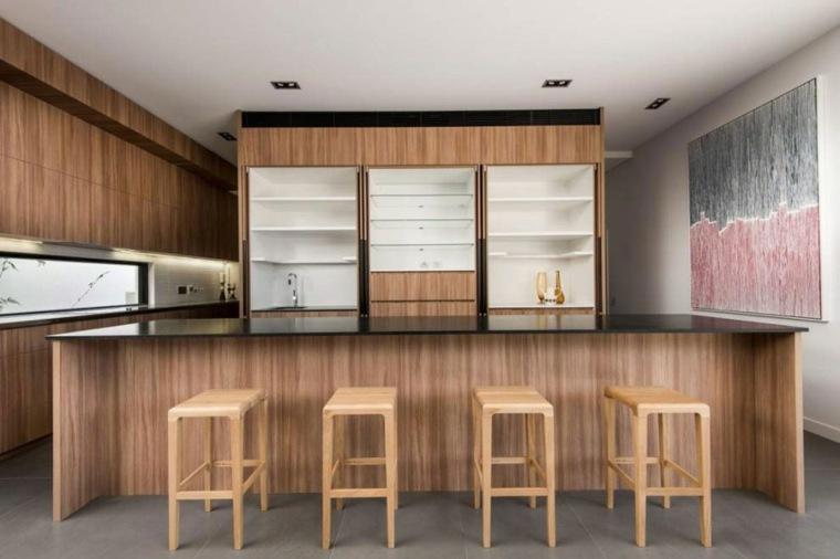 muebles diseno isla grande taburetes madera ideas