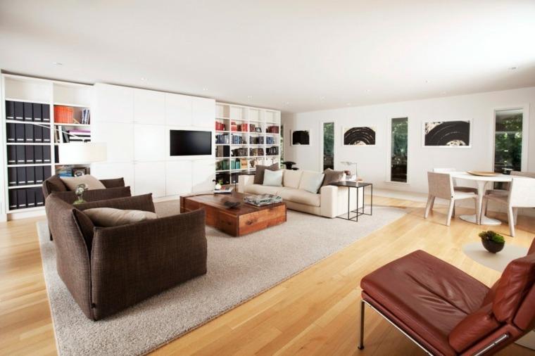 muebles diseno mesa madera estanterias salon moderno ideas