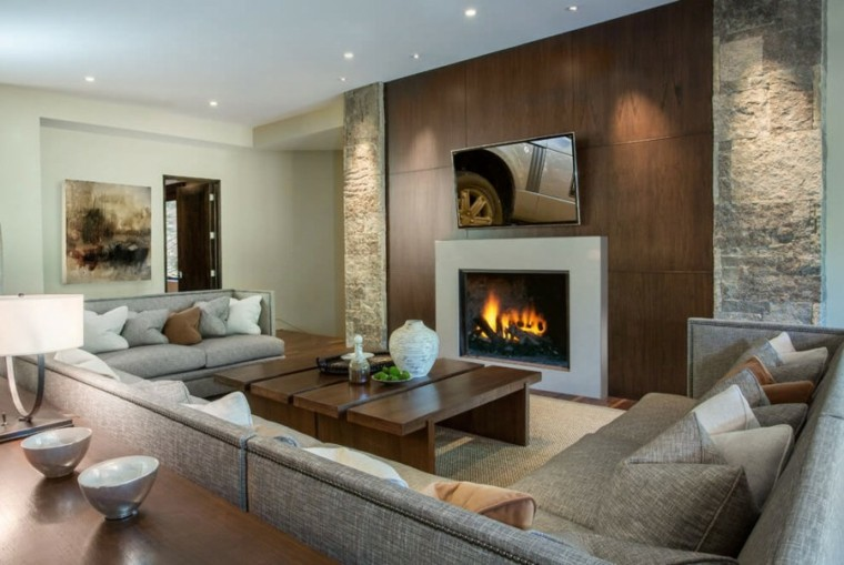 muebles diseno mesa salon moderno madera chimenea ideas