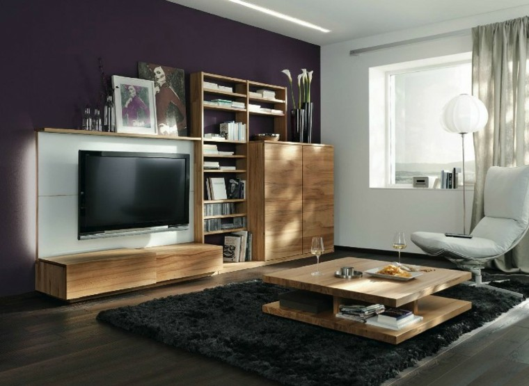 muebles diseno purpura blanco madera salon ideas